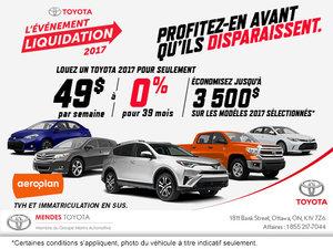 L'événement liquidation 2017 chez Mendes Toyota!