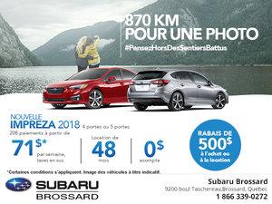 Économisez sur la Subaru Impreza 2018