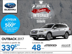 Louez le Subaru Outback 2017 aujourd'hui!