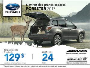 La Subaru Forester 2017 en location à  129$ aux deux semaines