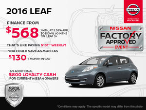 Get the 2016 Nissan Leaf Today!