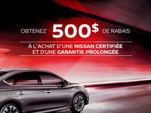 Rabais de 500$ à l'achat d'un véhicule d'occasion certifié Nissan