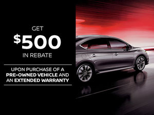 $500 Rebate upon purchase of a pre-owned vehicle
