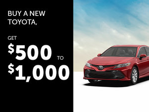 Up to $1,000 Rebate with the Purchase of a New Toyota