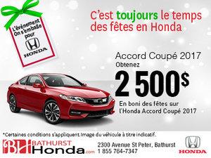 Obtenez 2500$ en boni sur l'Honda Accord Coupé 2017!