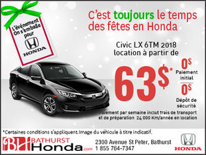 Obtenez la Honda Civic Berline LX 6TM 2018 aujourd'hui!