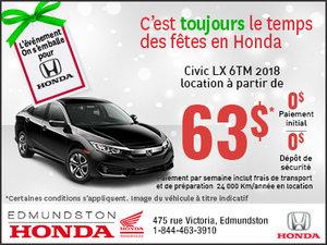 Obtenez la Honda Civic 2018 aujourd'hui!