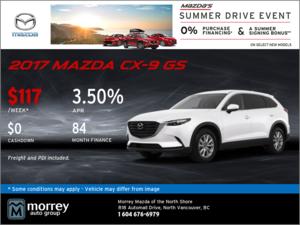 Drive Home a 2017 Mazda CX-9 GS Today!