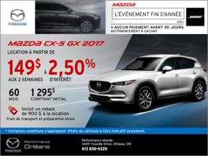 Obtenez la Mazda CX-5 GX 2017 aujourd'hui! chez Performance Mazda à Ottawa