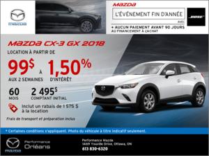 Obtenez la Mazda CX-3 GX 2018 aujourd'hui! chez Performance Mazda à Ottawa