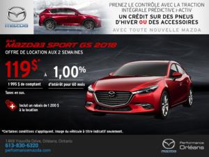 Obtenez une Mazda3 Sport 2018 aujourd'hui! chez Performance Mazda à Ottawa