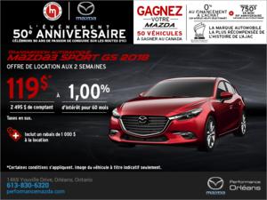 Procurez-vous une Mazda3 Sport 2018 aujourd'hui! chez Performance Mazda à Ottawa