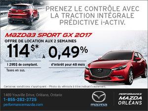Louez une Mazda 3 Sport GX 2017 aujourd'hui! chez Performance Mazda à Ottawa