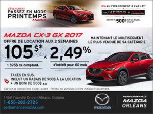 Obtenez la Mazda CX-3 GX 2017 aujourd'hui! chez Performance Mazda à Ottawa