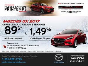 Louez une Mazda 3 GX 2017 aujourd'hui! chez Performance Mazda à Ottawa