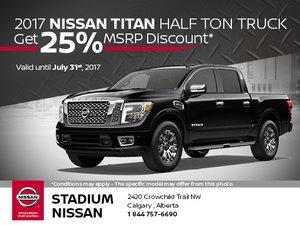 Save 25% MSRP on the 2017 Nissan Titan Half Ton Truck!