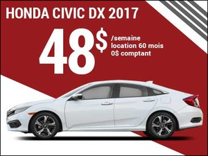 La Honda Civic 2017 pour 48$ par semaine chez Groupe Vincent à Shawinigan et Trois-Rivières