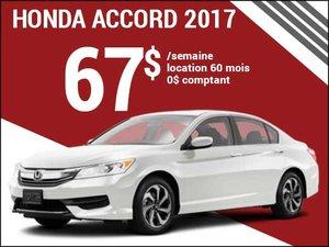 67$ par semaine pour la nouvelle Honda Accord 2017 chez Groupe Vincent à Shawinigan et Trois-Rivières