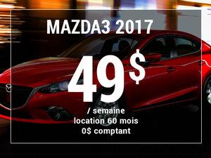 Roulez en Mazda3 GX 2017 à partir de 49$ / semaine chez Groupe Vincent à Shawinigan et Trois-Rivières