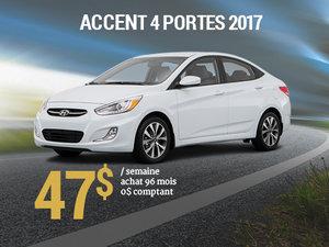 47$ par semaine pour une Hyundai Accent 4 portes 2017 chez Groupe Vincent à Shawinigan et Trois-Rivières