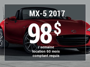Roulez en Mazda MX-5 2017 à partir de 98$/sem. chez Groupe Vincent à Shawinigan et Trois-Rivières