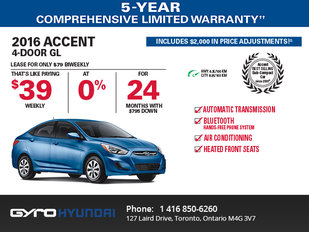 The 2016 Hyundai Accent in Toronto!