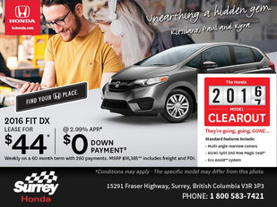 Get a Brand-New 2016 Honda Fit DX Today!