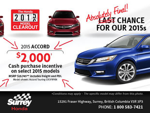 Save on the 2015 Honda Accord today!