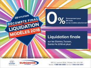 Décompte final Hyundai - liquidation des modèles 2018!