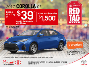 Lease the New 2017 Toyota Corolla