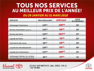 Tous nos services au meilleur prix de l'année!