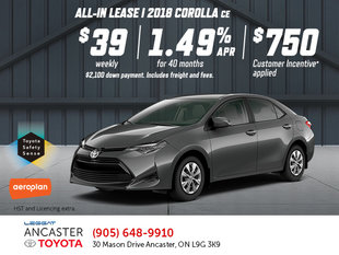 Save on the 2018 Corolla