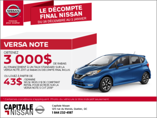 Nissan Versa Note 2018 chez Capitale Nissan