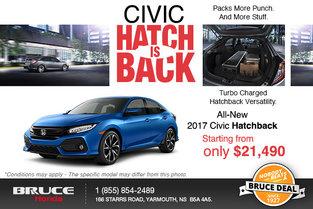 Save Big on the 2017 Civic Hatchback!