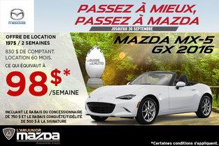 Louez la toute nouvelle Mazda MX-5 GX 2016