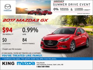 Save on the 2017 Mazda3  GX!