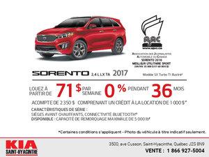 Le Kia Sorento 2017 en location!