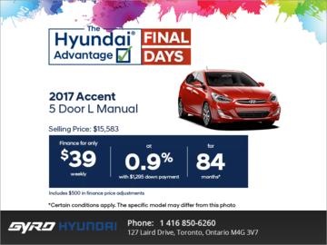 Get the 2017 Accent 5 Door!