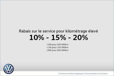 Rabais sur le service pour kilométrage élevé 10% - 15% - 20%