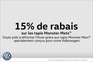 15% de rabais sur les tapis Monster Mats®