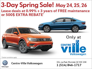 Huge 3-Day Spring Sale! Only at Centre Ville Volkswagen