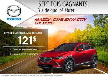 Louez le Mazda CX-3 2016 à partir de 121$ aux deux semaines
