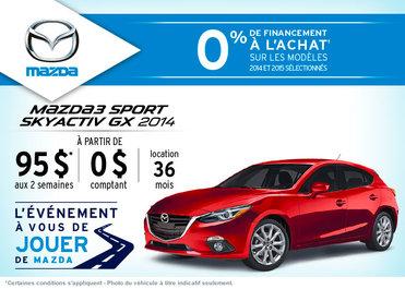 La Mazda 3 sport 2014 à la location à partir de 95$ aux 2 semaines