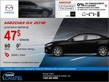 La Mazda3 GX 2018 en location