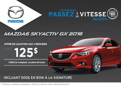 Louez la Mazda 6 GX 2016  à compter de 125$ aux 2 semaines