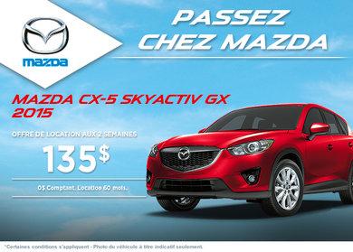 Louez la Mazda CX-5 GX 2015 à partir de 135$ aux 2 semaines