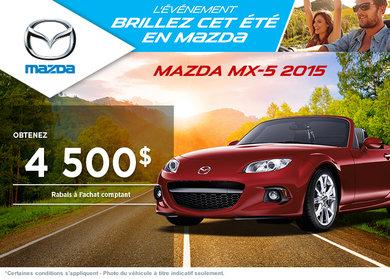 Achetez la Mazda MX-5 2015 avec rabais allant jusqu'à 4500$