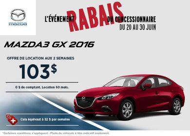 La toute nouvelle Mazda3 GX 2016 en location