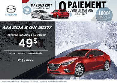 La toute nouvelle Mazda3 GX 2017 en location