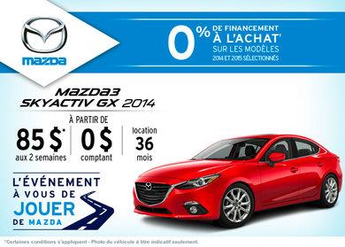 La toute nouvelle Mazda 3 2014 en location à partir de 85$ aux 2 semaines